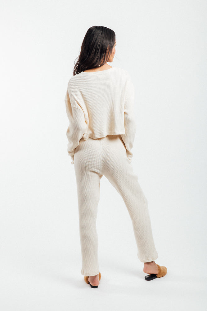 Thermal Cropped Lounge Set, Cream