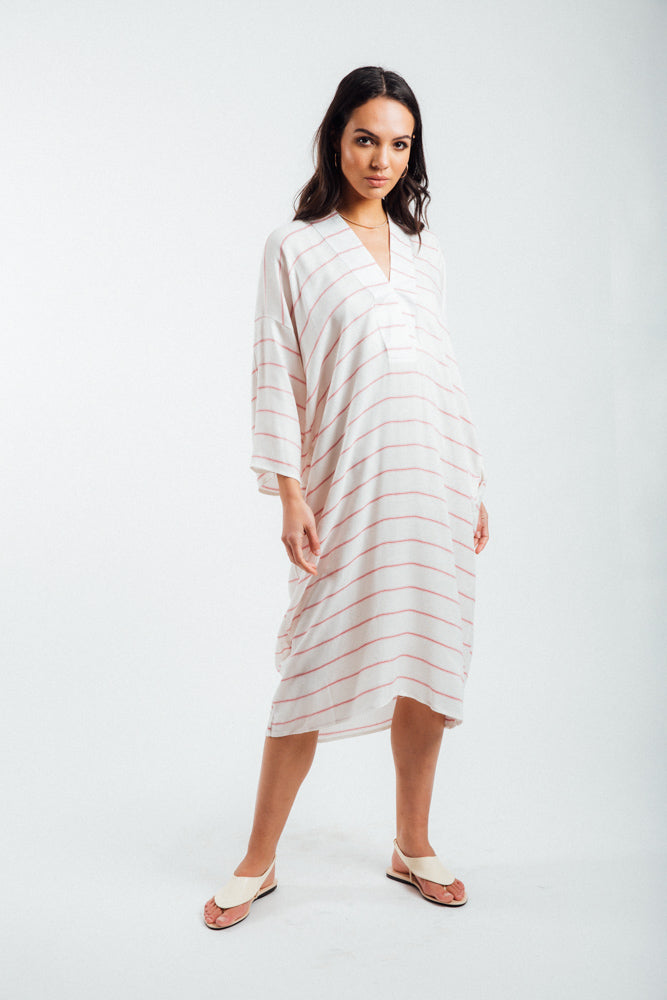 Kimono Inspired Dress-Red & White Striped