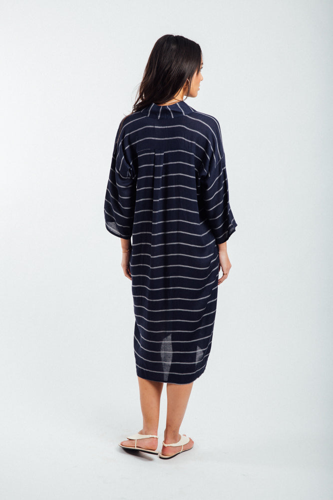 Kimono Inspired Dress-Navy & White Striped