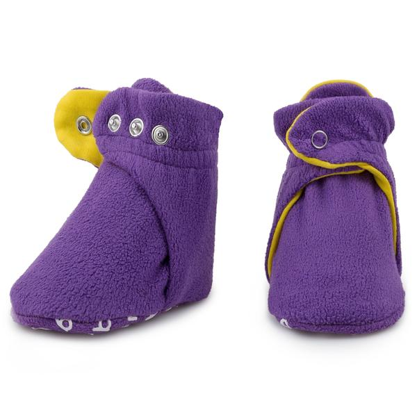 Purple Daisy Fleece Baby Booties
