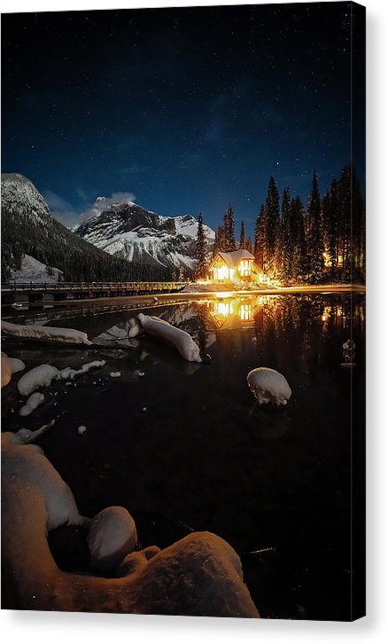 Emerald Lake Lodge At Night, Yoho National Park, British Columbia - Canvas Print