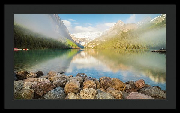 Morning Reflection On Lake Louise, Banff, Canada - Framed Print