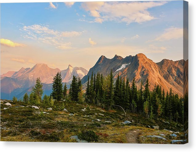 Bastille Mountain At Sunset, Purcell Mountains, British Columbia - Canvas Print