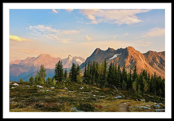 Bastille Mountain At Sunset, Purcell Mountains, British Columbia - Framed Print