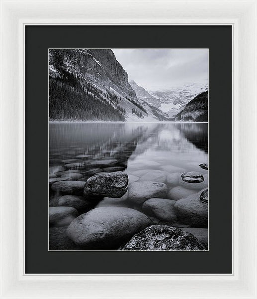 Black And White Reflection At Lake Louise, Banff, Alberta - Framed Print