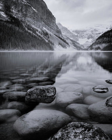 Black And White Reflection At Lake Louise, Banff, Alberta - Art Print