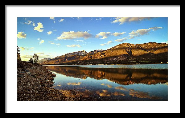Columbia Lake, British Columbia, Reflection At Sunset - Framed Print