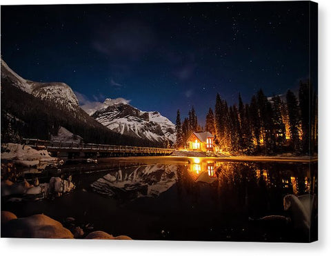 Emerald Lake Lodge At Night, Yoho NP, British Columbia - Canvas Print