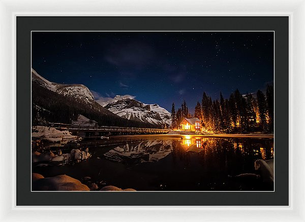 Emerald Lake Lodge At Night, Yoho NP, British Columbia - Framed Print