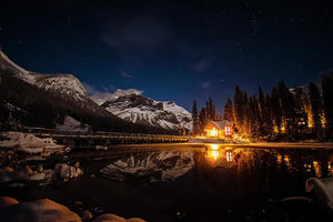 Emerald Lake Lodge At Night, Yoho NP, British Columbia - Art Print
