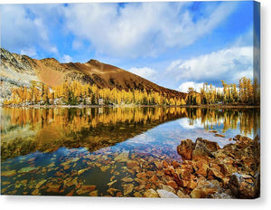 Fall Mountain Reflection With Blue Skies, Purcell Mountaints, British Columbia - Canvas Print
