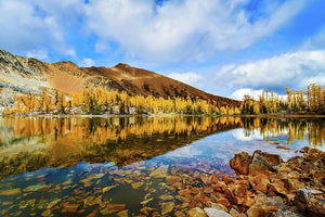 Fall Mountain Reflection With Blue Skies, Purcell Mountaints, British Columbia - Art Print