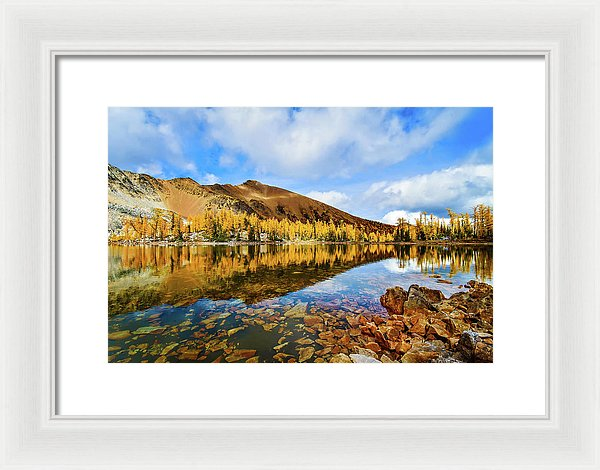 Fall Mountain Reflection With Blue Skies, Purcell Mountaints, British Columbia - Framed Print