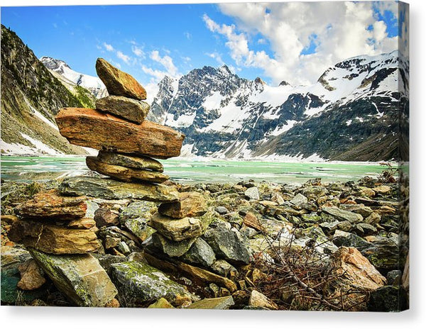 Inukshuk On The Shore, Lake of the Hanging Glacier, British Columbia - Canvas Print