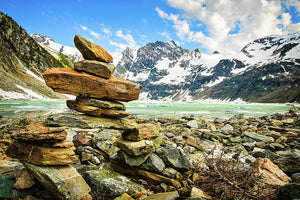 Inukshuk On The Shore, Lake of the Hanging Glacier, British Columbia - Art Print