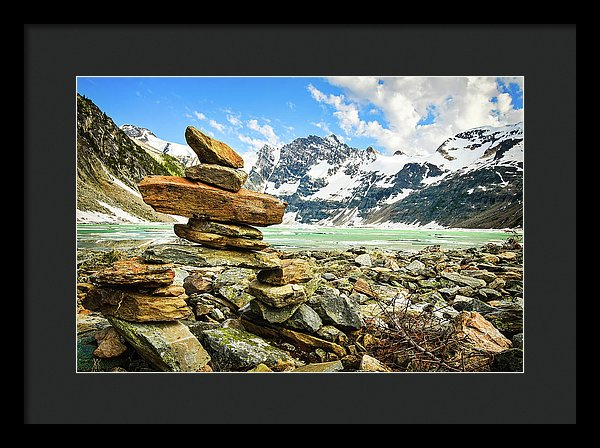 Inukshuk On The Shore, Lake of the Hanging Glacier, British Columbia - Framed Print