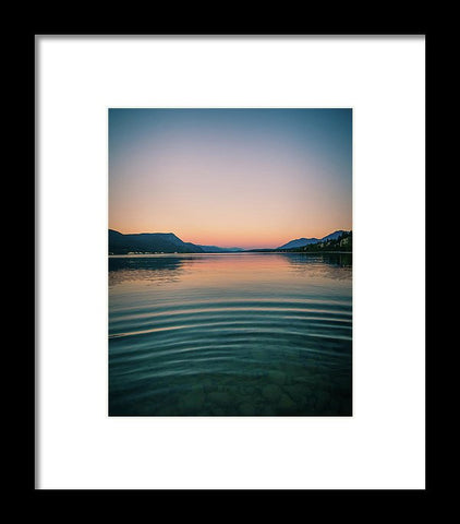 Lake Sunset Mountains - Framed Print