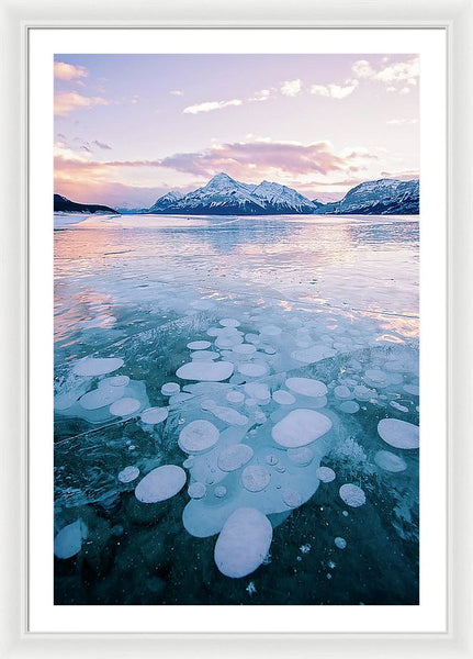 Methane Bubbles Frozen In Abraham Lake, Clearwater County, Alberta - Framed Print