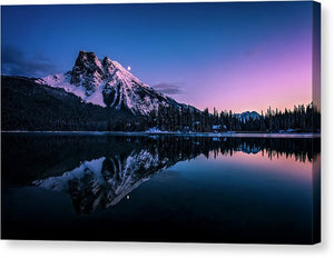 Mount Burgess Reflected In Emerald Lake, British Columbia, At Night - Canvas Print