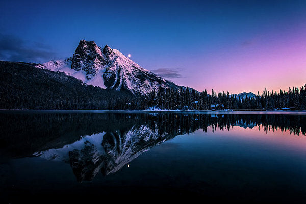 Mount Burgess Reflected In Emerald Lake, British Columbia, At Night - Art Print