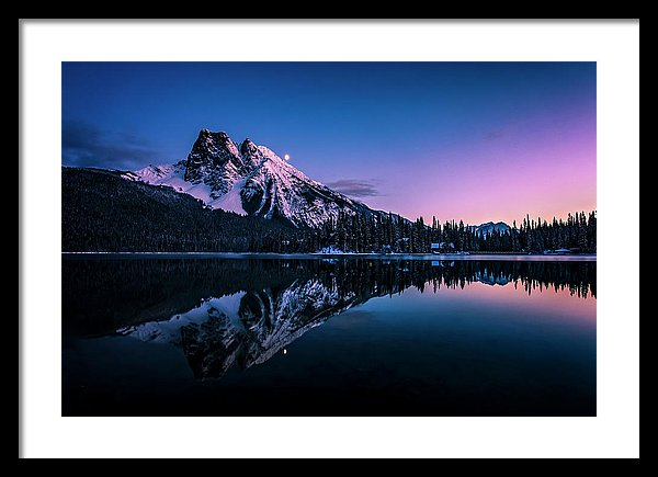 Mount Burgess Reflected In Emerald Lake, British Columbia, At Night - Framed Print