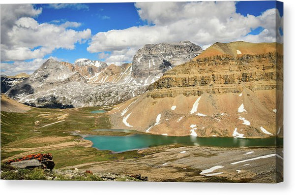 Mountain And Lake View, Dolomite Pass, Banff, Alberta  - Canvas Print