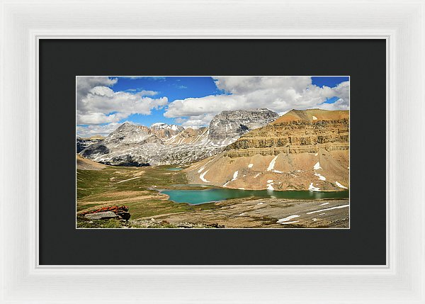 Mountain And Lake View, Dolomite Pass, Banff, Alberta  - Framed Print