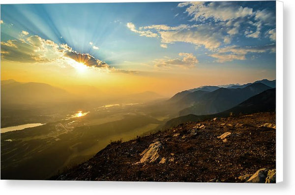 Mountain Sunset, Invermere, British Columbia - Canvas Print