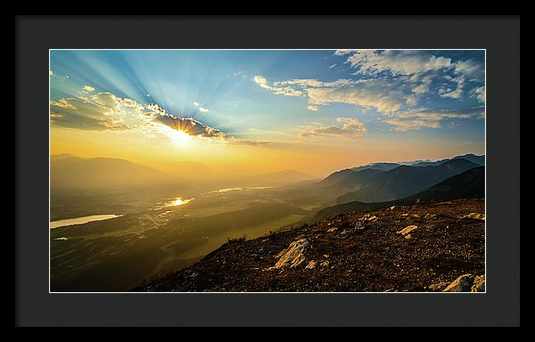 Mountain Sunset, Invermere, British Columbia - Framed Print