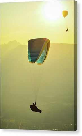 Paragliders In Golden Light - Canvas Print