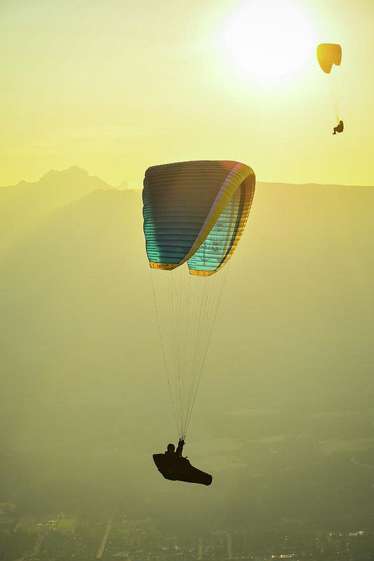 Paragliders In Golden Light - Art Print