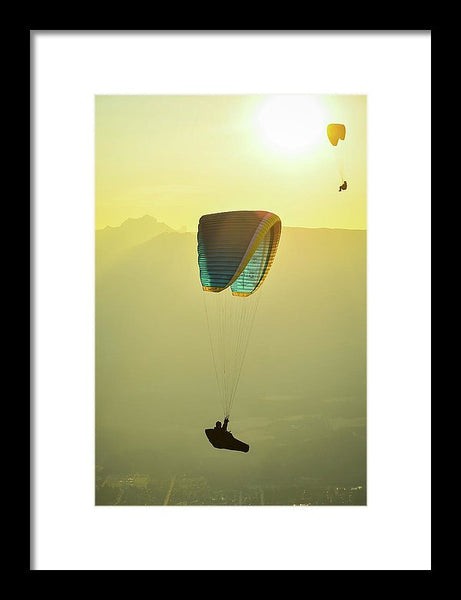 Paragliders In Golden Light - Framed Print