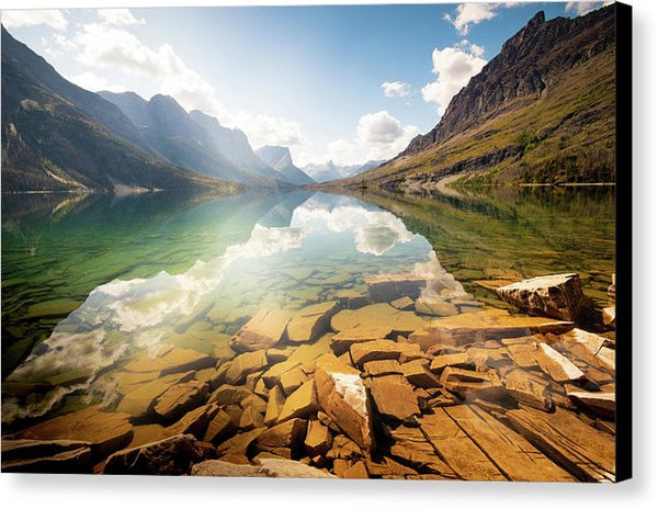 Reflection St Mary Lake, Glacier National Park, Montana - Canvas Print