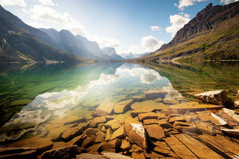Reflection St Mary Lake, Glacier National Park, Montana - Art Print
