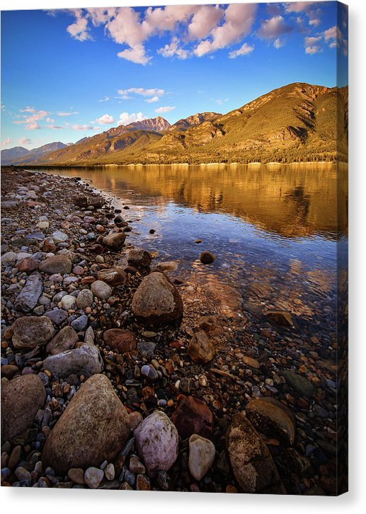 Rocky Shore Mountain Reflection - Canvas Print