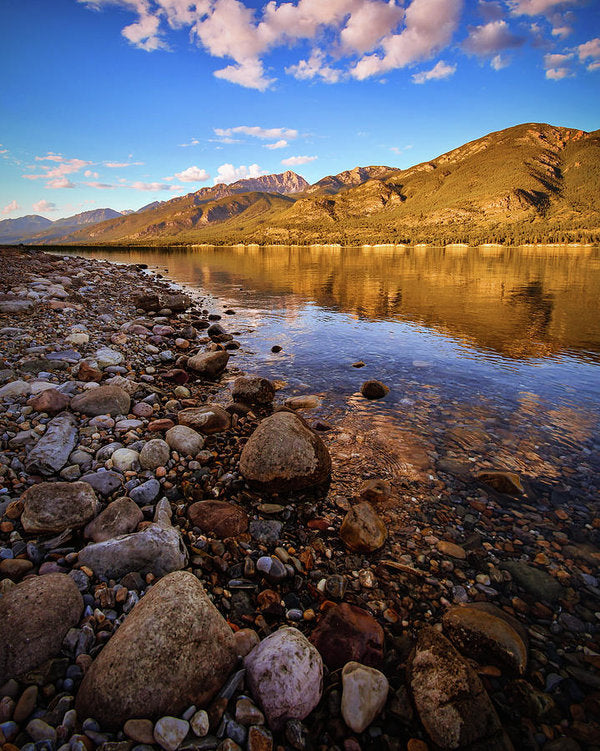 Rocky Shore Mountain Reflection - Art Print