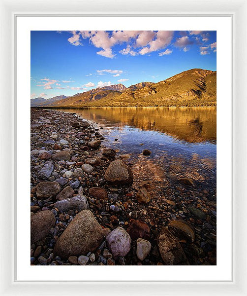 Rocky Shore Mountain Reflection - Framed Print