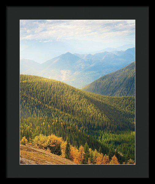 Rolling Mountains Pedley Pass In Fall, British Columbia, Canada - Framed Print