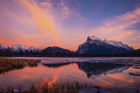 Rundle Reflection In Vermillion Lakes, Banff National Park, Alberta - Art Print
