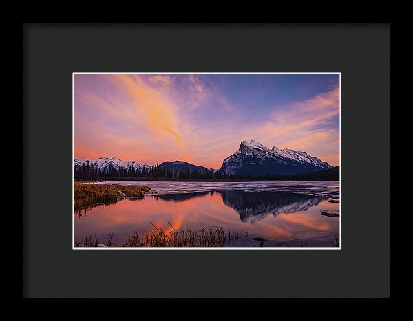 Rundle Reflection In Vermillion Lakes, Banff National Park, Alberta - Framed Print