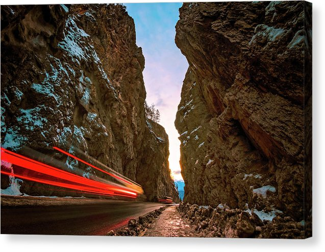 Streaking Lights At Sunset Through Sinclair Canyon, Radium Hot Springs, British Columbia - Canvas Print