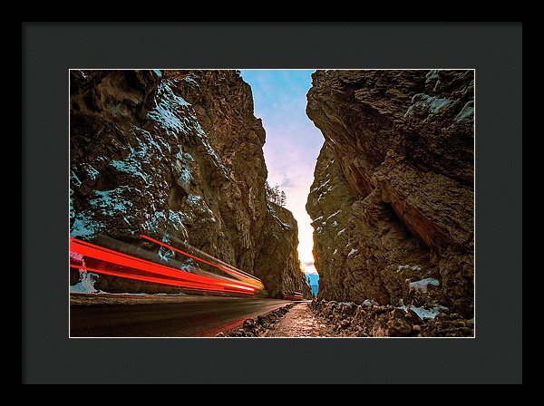 Streaking Lights At Sunset Through Sinclair Canyon, Radium Hot Springs, British Columbia - Framed Print