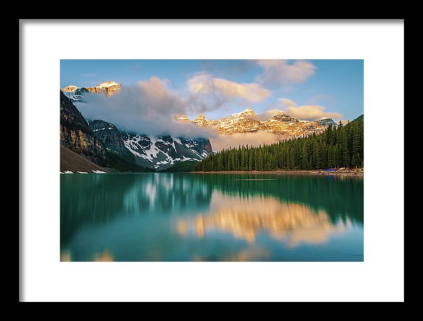 Ten Peaks Reflected In Moraine Lake, Banff - Framed Print