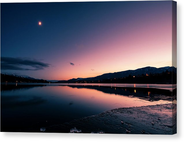 Twilight Reflection On Lake Windermere, British Columbia - Canvas Print