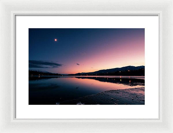 Twilight Reflection On Lake Windermere, British Columbia - Framed Print