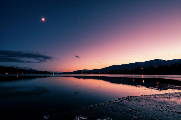 Twilight Reflection On Lake Windermere, British Columbia - Art Print