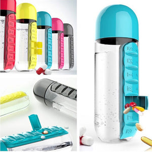 Water Bottle With Daily Pill Box