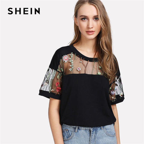 SHEIN Embroidered Mesh Yoke Top Black Short Sleeve Round Neck Casual T-shirt 2018 Summer Floral Regular Fit Elegant Tops