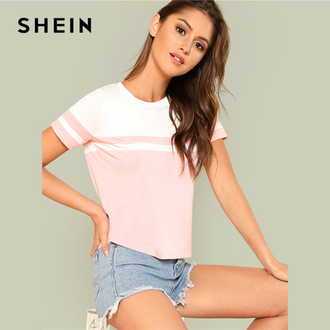SHEIN Color Block Tee 2018 Summer Round Neck Short Sleeve Cool Top Women Preppy White And Pink Patchwork Student T-shirt