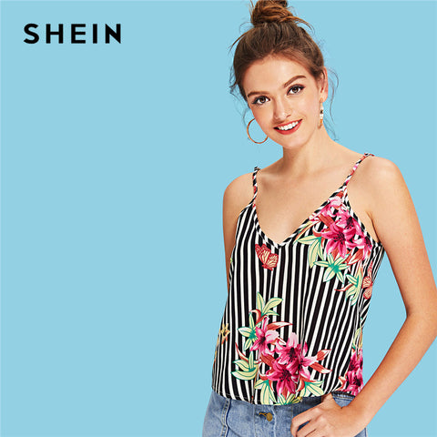 SHEIN Multicolor Vacation Boho Bohemian Beach Floral And Striped Print Cami Top Summer Women Weekend Casual Sexy Vest